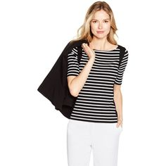 White House Black Market Womens Elbow Sleeve Black and White Stripe... ($40) ❤ liked on Polyvore