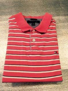 Men's TOMMY HILFIGER Golf Polo Shirt - Coral, Striped - Size L