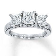 Diamond Ring 2 Carat tw Princess-cut White Gold… My engagement ring. Diamond Gemstone, Diamond Bands, Diamond Wedding Bands, Diamond Cuts, Wedding Rings Rose Gold, White Gold Rings, Wedding Jewelry, Jared Engagement Rings, Tanzanite Engagement Ring