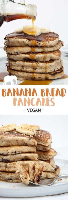 Vegan Banana Bread Pancakes with Chocolate Chunks. The perfect Sunday breakfast! Recipe on ElephantasticVegan.com