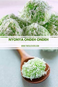 Bite into the perfect mix of pandan and coconut. Nyonya Ondeh Ondeh is a delicious little bite that the whole family will enjoy. Gluten Free Desserts, Dessert Recipes, A Food, Good Food, Asian Desserts, International Recipes, Great Recipes, Meal Planning, Cabbage