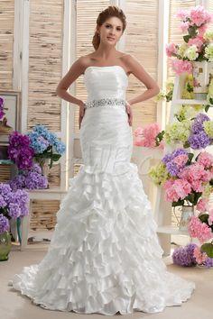 Dresswe.comサプライ品グラマラスなチャペル列車ナスティアのウェディングドレス トランペット/マーメイド ストラップレス プリーツ 床長 ウェディングドレス2014