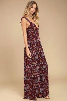 Simple Pleasure Burgundy Floral Print Maxi Dress 2