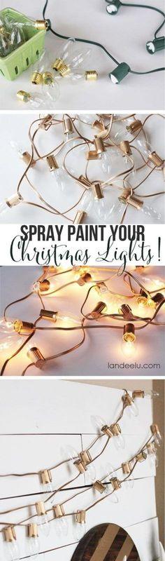 DIY Wohndeko-Ideen mit Spraydosen, Leselampe besprühen, Dekoration selber machen mit Lichterketten