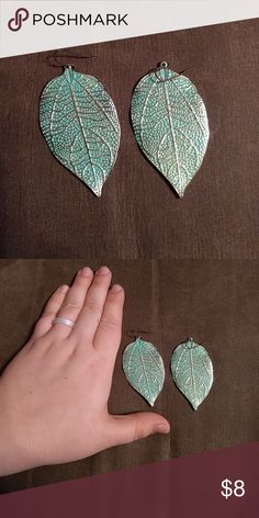 Teal leaf earrings Well worn but still beautiful leaf-shaped earrings. Jewelry Earrings