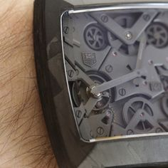 TAG Heuer Monaco V4 Phantom - CMC (Carbon Matrix Composite). The appearance of the case exhibits an intriguing random labyrinth of mottled grays that I personally find fascinating to behold