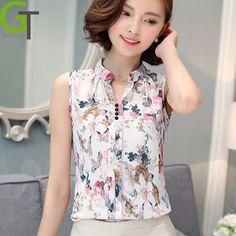 7e11bac28512c Blusas Femininas 2016 New Fashion Summer Chiffon Blouse Women Printed  Sleeveless Blouse Floral Print Blouses Shirts Office Shirt-in Blouses    Shirts from ...
