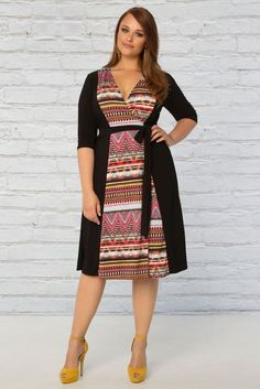 b1c1abe5def Slimming plus size black wrap dress from Kiyonna with tribal print is an  awesome choice for