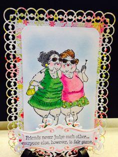 Spellbinders Detailed Scallops die, Fancy Tags 2 die, Art Impressions Girlfriend stamp, Liquid Pearls, Smooches used to highlight areas