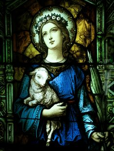 Snta. Ines de Rome. Iglesia Santa Anna Católica.   Después de su muerte se le apareció a sus padres junto a un cordero.