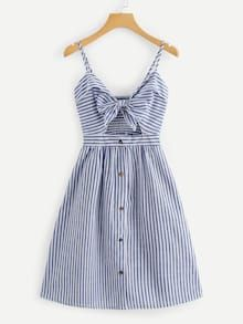Shop Cut Out Knot Front Striped Dress online. ROMWE offers Cut Out Knot Front Striped Dress & more to fit your fashionable needs. Dress Outfits, Casual Dresses, Short Dresses, Fashion Dresses, Summer Dresses, Dresses Dresses, Fashion Styles, Spring Outfits, Trendy Outfits