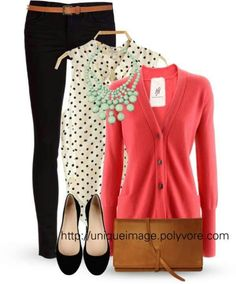 Polka Dots, Mint & Coral - the polka dot top is great and I love the coral cardigan. It looks like a great outfit for work Komplette Outfits, Casual Outfits, Cute Work Outfits, Winter Outfits, Fashion Outfits, Coral Cardigan, Pink Sweater, Coral Top Outfit, Coral Blouse