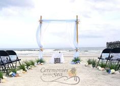 Two-Post Bamboo Arch with White Linens Fuchsia Organza ♥ Ceremonies by the Sea…