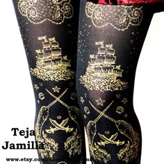 L Pirate Tights Narwhal Print Large Gold on Black by TejaJamilla
