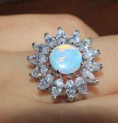 fire opal topaz ring gems silver jewelry Sz 6 7 7.5 chic engagement flower band #Unbranded #Band