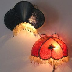 A His & Hers pair of head board bed lamps. Made in japan around the early 1930's for export to the USA market.    They survived in a pristine condition so I bought them for my collection. I love the beads hanging from the lace and the funky gathering of the chiffon (on the side panels of the shades ) Bed Lamps, Vintage Lamps, Headboards For Beds, Side Panels, Lampshades, My Room, Mirrors, Chiffon, Victorian
