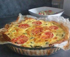 pâte feuilletée, courgette, fromage râpé, oeuf, crême fraîche, Sel, Poivre, lardons, tomate, fromage de chèvre