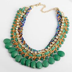 Amazon.com: Fashion Colorized Knit Chain Crystal Green Water Drop Beads Pendant Statement Necklace: Jewelry