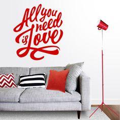 """Vinilo de texto All you need is Love.  Enérgico vinilo decorativo de pared con el texto de los Beatles """"All you Need is Love"""". DISFRÚTALO EN NUESTRA WEB: http://dolcevinilo.es/vinilo-all-you-need-is-love"""