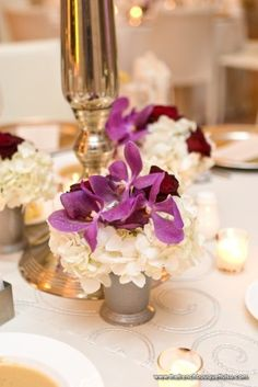 Purple Mokara Orchids in Small Centerpieces with White Hydrangea and Crimson Roses - The French Bouquet - Chris Humphrey Photographer