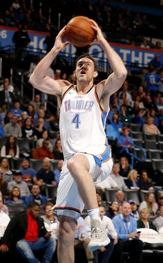 Oklahoma City's Nick Collison (4) goes up for a basket during the NBA basketball game between the Oklahoma City Thunder and Phoenix Suns the Chesapeake Energy Arena, Thursday, March 8, 2018. Photo by Sarah Phipps, The Oklahoman