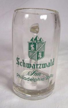 Vintage Beer Mug - Schwarzwald Inn Philadelphia - .25 Liter - Heavy Clear Glass #SchwarzwaldInn