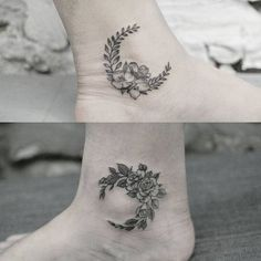 Floral Moon in Black and White Ankle Tat