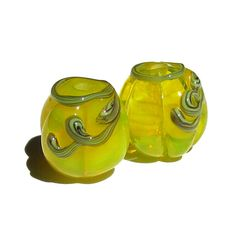 Handmade Lampwork Glass Pumpkin Bead Pair electric yellow handpulled cane vines