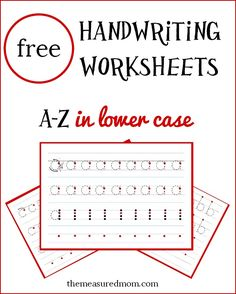 Get this set of free handwriting worksheets in lowercase! Great for kids just learning to write on handwriting lines.