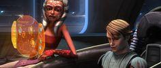 """Ahsoka Tano and Anakin Skywalker access the fuel computer on Cad Bane's ship """"Xanadu Blood""""."""
