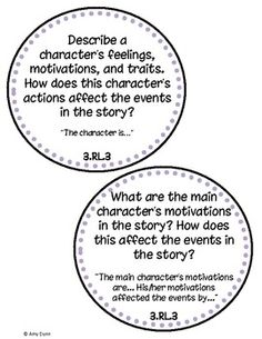 3rd Grade Common Core Reading Question Cards with Sentence Frames
