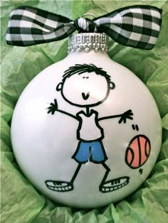 Basketball  Hand Painted Personalized Ornament by HappyYouHappyMe, $14.00
