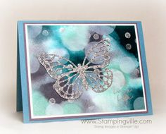 Butterfly die-cut from glimmer paper with a bokeh technique background. Stunning!! #papercrafts #cardmaking #StampinUp
