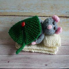 Toy Mouse Grey Knitted Amigurumi Plush Nursery Decor