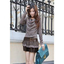Women's Sweet Cotton Dress With Openwork Lace Hem and Cloak Neck Design