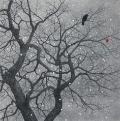 **Ryohei Tanaka(田中良平 b.1933) Snow and Crow 2008 Etching with aquatint and persimmon is handpainted