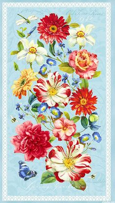 "Rainbow Garden - Old Time Rose - Powder Blue - 24"" x 44"" PANEL"