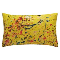 SPLATTER Multi-coloured splatter printed velvet cushion 40 x 60cm