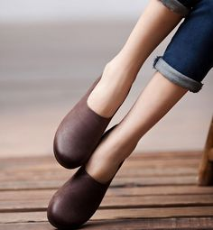 Coffee Handmade Shoes / Top Layer Cow Leather/ by clothingshow, $86.00