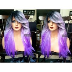 U.S.A. Heat OK Ombre Pastel Purple LACE FRONT Wig w/ Part Wavy Yaki... ❤ liked on Polyvore featuring beauty products, haircare and hair styling tools