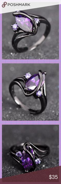 PURPLE AMETHYST BLACK GOLD RING STUNNING Marquise Purple Amethyst Stone ring with two small round amethyst stones set on each side, set in 10K Black Gold. This ring is high quality and looks amazing on! Only ONE available in SIZE 10COMES IN GIFT BOX Boutique Jewelry Rings