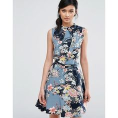 Oasis Floral Print High Neck Belted Skater Dress (1 905 UAH) ❤ liked on Polyvore featuring dresses, multi, rayon dress, floral dresses, layered dress, skater dresses and high neck dress