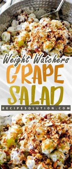 Grape Salad is a creamy dessert salad that is perfect for potlucks. Sprinkled with brown sugar and chopped pecans. Ingredients 16 oz sour oz cream cup sugarCouple squirts of pure vanillaApprox. Ww Recipes, Salad Recipes, Cooking Recipes, Popular Recipes, Healthy Snacks, Healthy Eating, Healthy Recipes, Healthy Breakfasts, Diabetic Recipes
