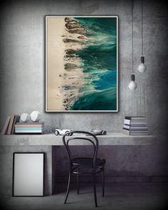 Huge Painting Abstract Print Blue and Green by LDawningScott