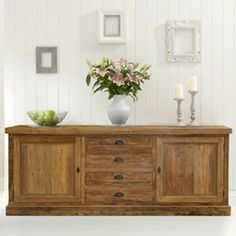 Full of rural charm, the Centralia Rustic Reclaimed Teakwood 2 Door 4 Drawer Large Sideboard Cabinet offers functionality and classy looks to blend in with a. Country Kitchen Designs, Rustic Kitchen, Kitchen Decor, Kitchen Ideas, Diy Kitchen, Kitchen Tips, Rustic Farmhouse, Vintage Kitchen, Refacing Kitchen Cabinets