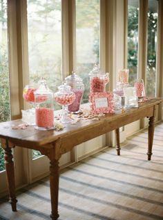 A candy bar is a must at our wedding! Wedding Catering, Wedding Events, Our Wedding, Dream Wedding, Purple Wedding, Lace Wedding, Candy Table, Candy Buffet, Dessert Buffet