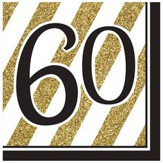 Black & Gold 60th Lunch Napkins/Case of 192