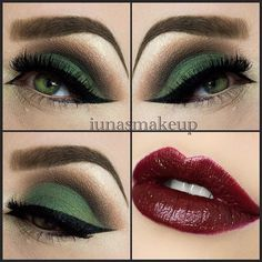 beautiful green eyes and vampy lips for Fall