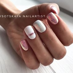 91 simple short acrylic summer nails designs for White Nail Art Ideas Nail Design Gold, Manicure Nail Designs, White Nail Designs, Nail Manicure, Nail Polish, Pedicure, Nail Art Stripes, Striped Nails, White Nail Art