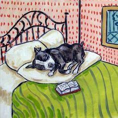 boston terrier sleeping dog art tile coaster gift JSCHMETZ